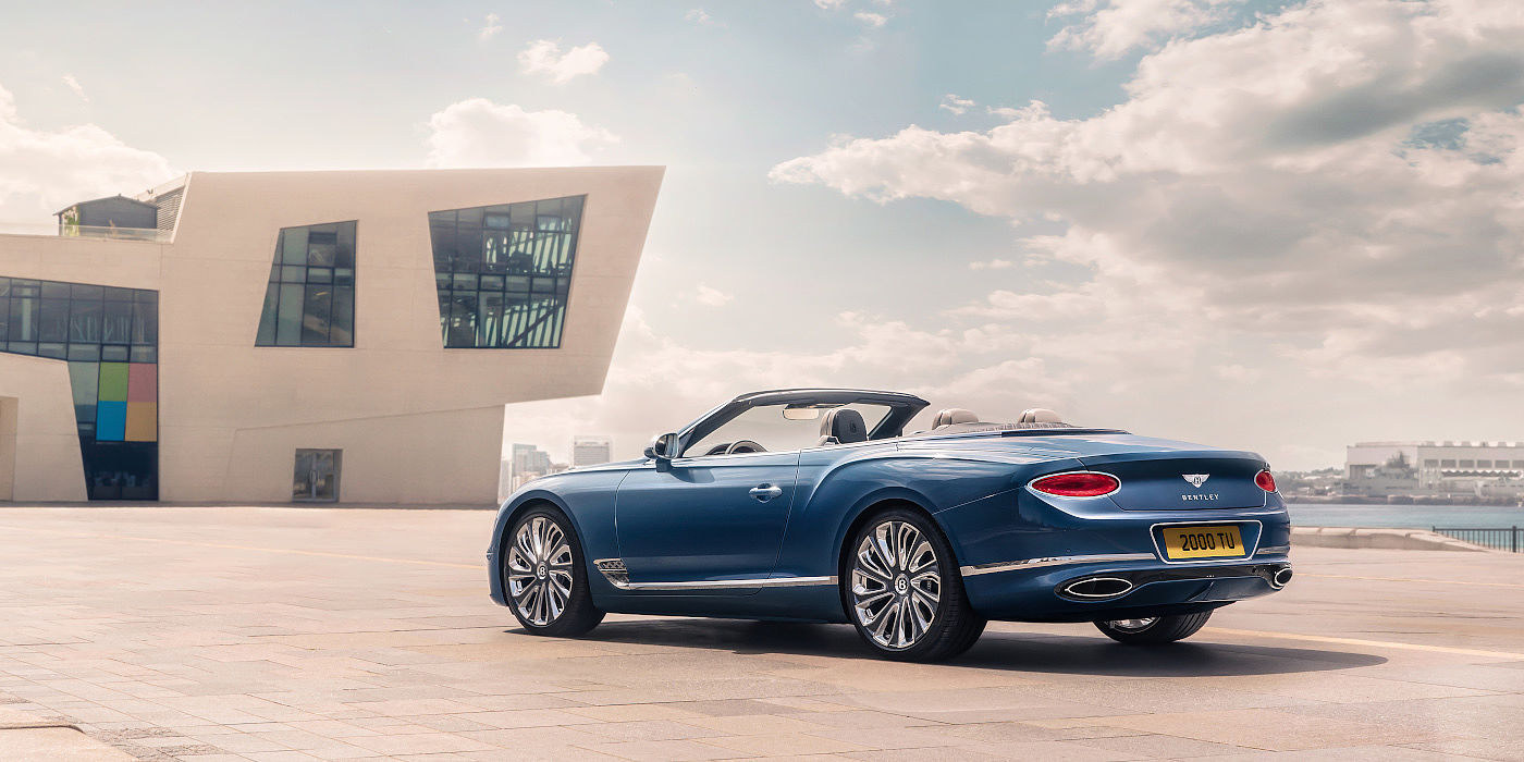 Bentley-Continental-GT-Mulliner-Convertible-seen-from-rear-in-Blue-Crystal-paint-in-Liverpool-city
